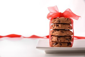 Stack of chocolate cookies romantic