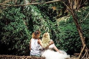 Young honeymoon newleds couple on a