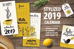 Stylized 2019 calendar