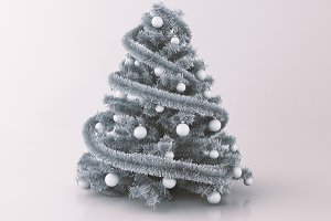 3d Christmas Tree on gray Background