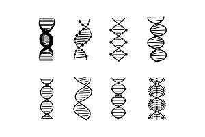 DNA Icons set vector illustration