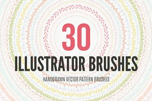 30 Handdrawn Vector Pattern Brushes