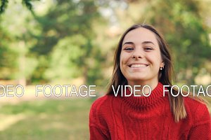 Slow motion portrait of cheerful