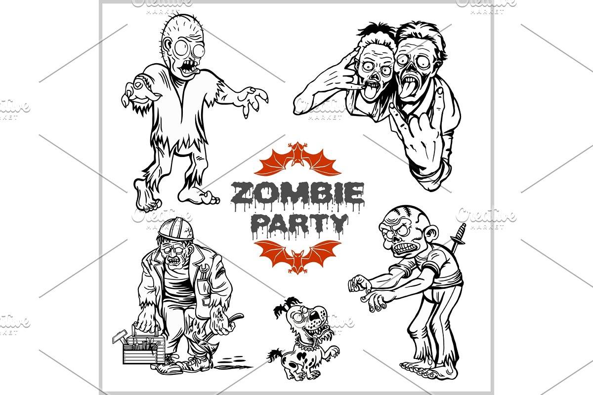 Zombie Comic Set Cartoon Zombie Illustrations Creative Market
