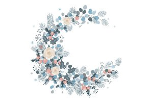Merry Christmas wreath design. New