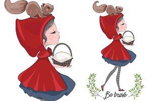 Red riding hood girl.Cartoon vector.