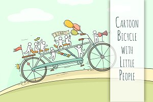 Cartoon bicycle with little People