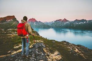 Discoverer tourist man trekking