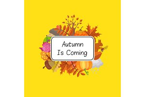 Vector cartoon autumn elements set