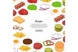 Vector isometric burger ingredients