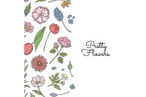 Vector hand drawn flowers background