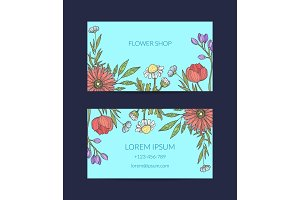 Vector hand drawn flowers business