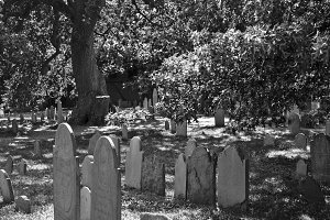 Gravestones in Salem (BW)