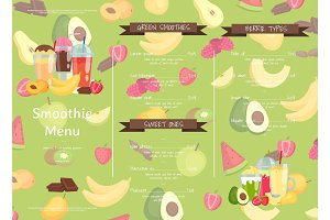 Vector flat smoothie cafe or