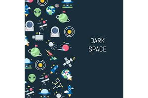 Vector flat space icons background