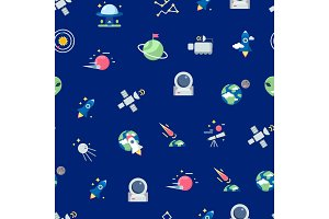 Vector flat space icons pattern or