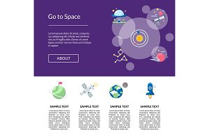 Vector flat space icons landing page