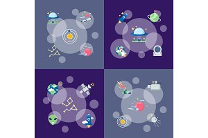Vector flat space icons infographic