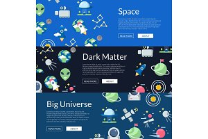 Vector flat space icons web banner