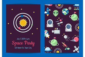 Vector flat space icons party