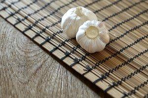 garlic on wood table