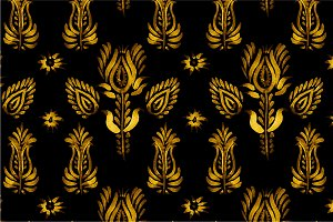 3 Seamless patterns, golden flowers
