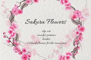 Sakura Flowers ink clip-art