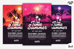 3in1 SUMMER BEACH Flyer Template