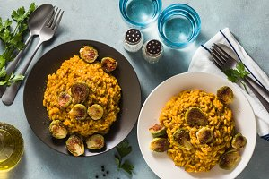 banner of risotto with pumpkin and b