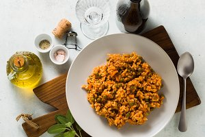 banner of Italian risotto with tomat