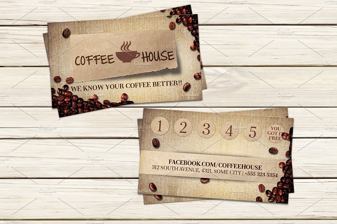 Coffee shop business card template business card templates coffee shop business card template business card templates creative market wajeb Choice Image