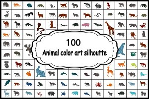 Set 100 colorful silhouettes animals