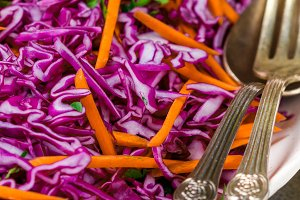 Red cabbage salad. cole slaw