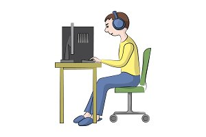 man with headphones is sitting