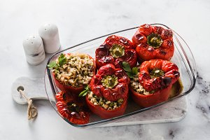 ready baked stuffed peppers in a gla