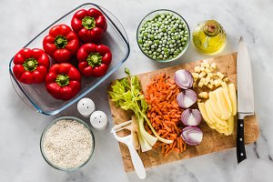 ingredients for filling bell peppers