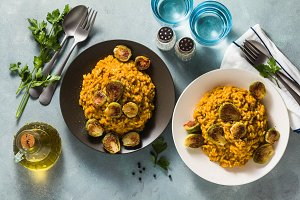 risotto with pumpkin and brussels sp