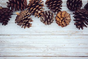 Pine tree cone on wooden background.