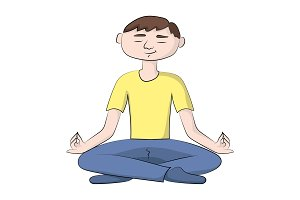 boy (man) is sitting in a yoga pose.