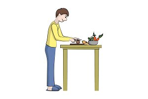 boy (man) is cooking. Vector color