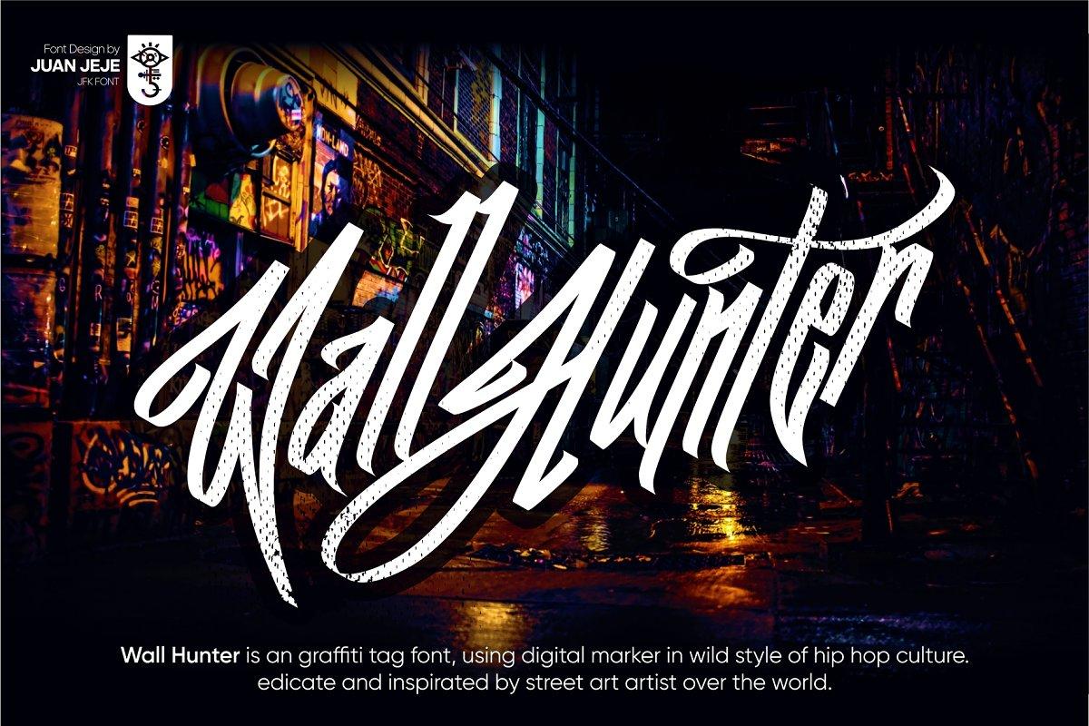 Wall Hunters   Graffiti Tag Fonts UP in Graffiti Fonts - product preview 1