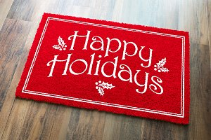 Red Happy Holidays Christmas Doormat