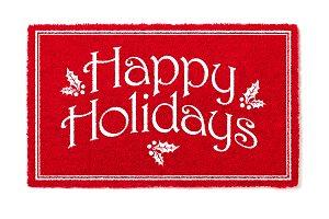 Red Happy Holidays Christmas Doormat