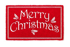 Red Merry Christmas Welcome Mat