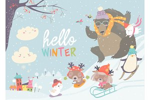 Happy cute animals playing winter