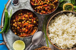 vegan curry with green peas and basm