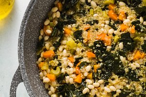 preparing a vegetable soup of kale a
