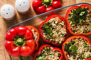 Stuffed peppers in a glass baking di