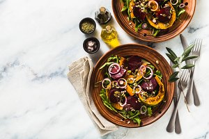 warm salad of baked pumpkin and beet