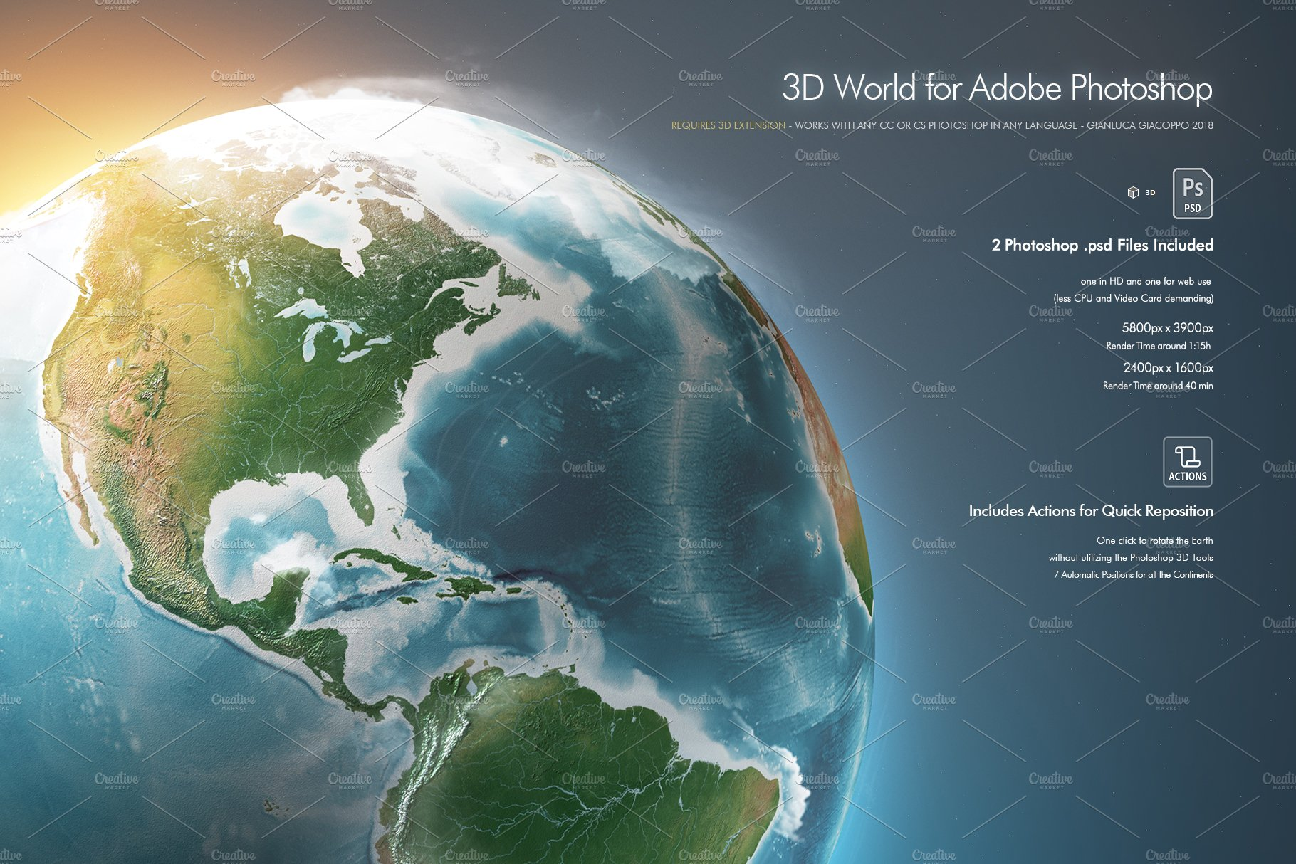 3d Globe Map Bump Map.3d Earth World For Photoshop Photoshop Add Ons Creative Market